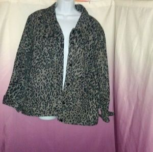 Denim & Co Leopard Print Jean Jacket
